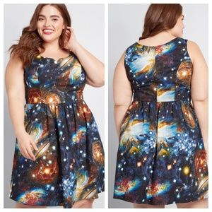 1X Modcloth Heart and Solar System A-Line Dress